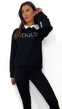 7630 Black Vogue Double Look Sweater