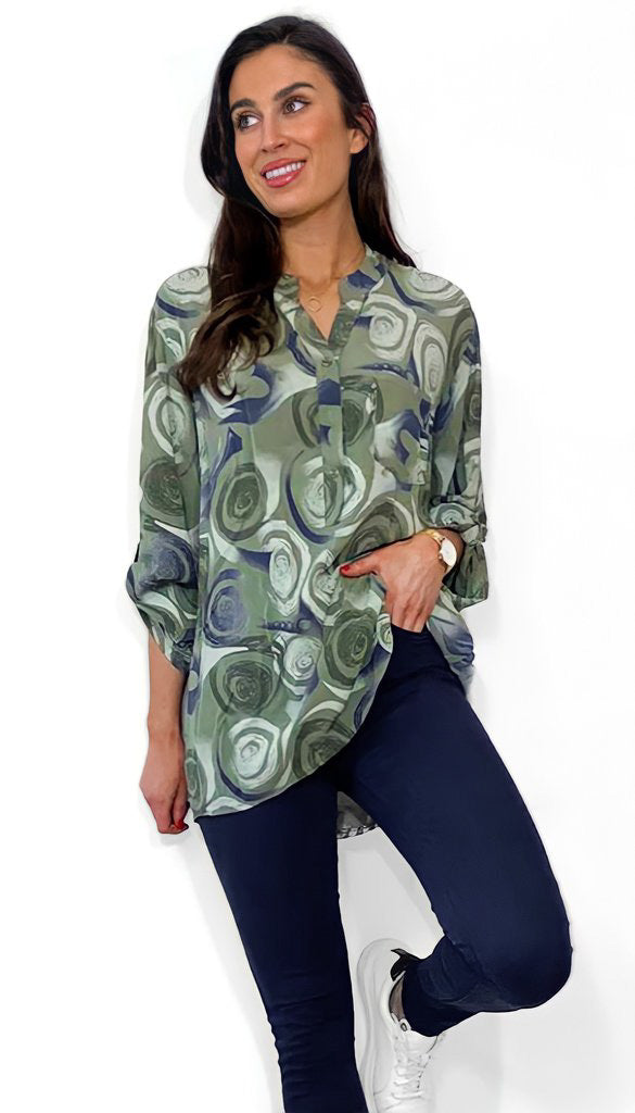 1-7639 Keira Khaki Swirl Cotton Shirt