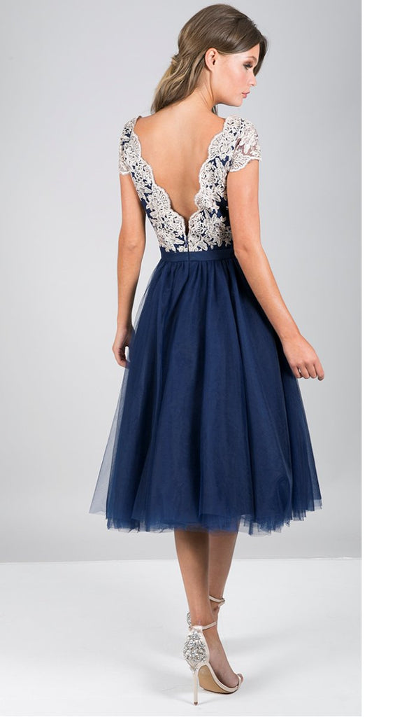 5228 Navy Embroidered Tulle Dress