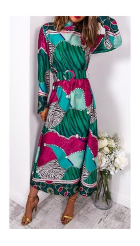 6129 - (SIZES 8,10,16) - Genie Red Print Wrap Dress