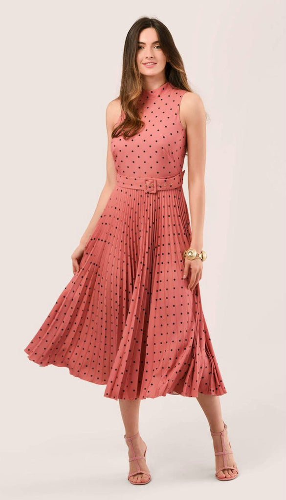 5-6075(B) - (SIZES 14,16 ONLY) - Ovia Polka Dot Pleated Midi Dress