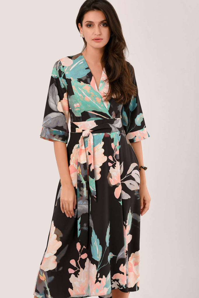 5-6081 - (SIZE 10,14 ONLY) - Faiza Floral High Lo Wrap Dress