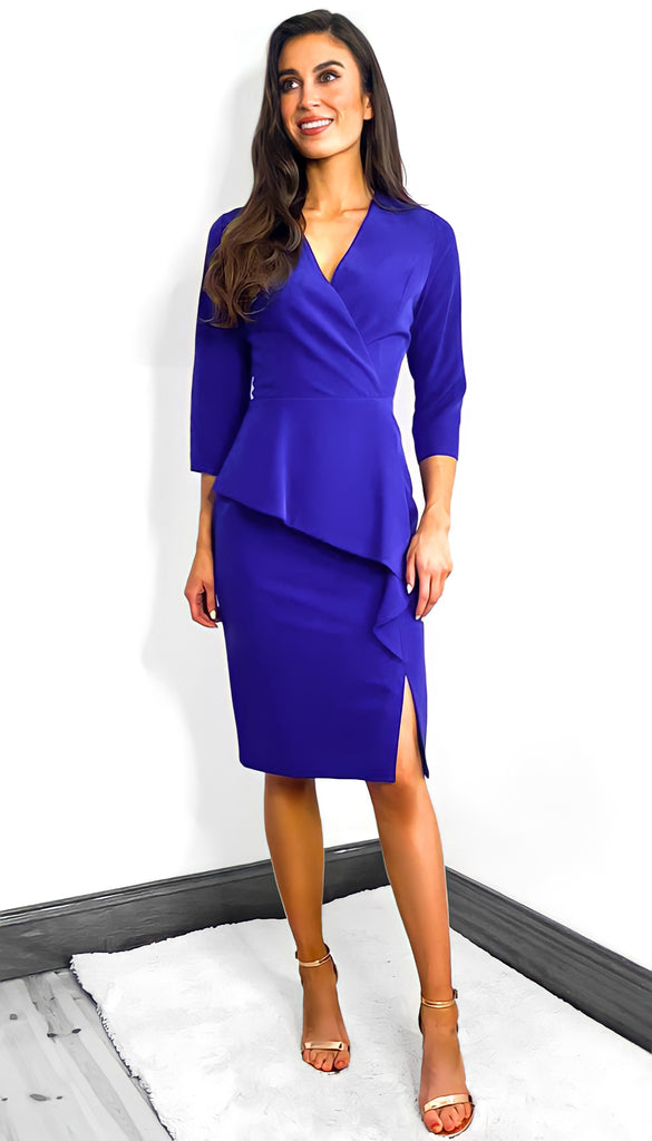 7683 - (SIZES 12,18 ONLY) - Meggy Blue Peplum Midi Dress