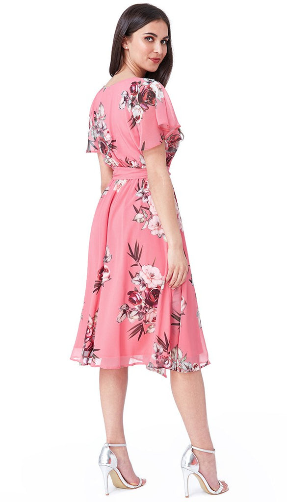 5-5613 - (SIZES 14 ONLY) - Gaby Coral Floral Chiffon Dress