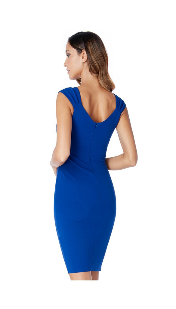 4-5302 Blue Diamante Shoulder Dress (SIZES 14 ONLY)
