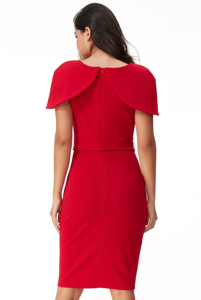 5999 - (SIZES 8,10,16) - Red Freya Cape Shoulder Dress