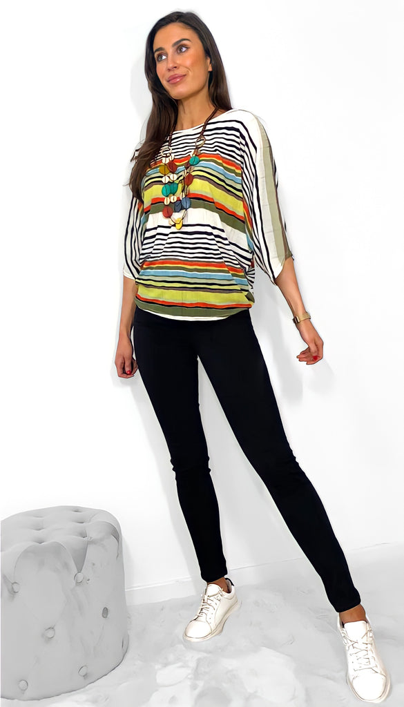 1-7648 Samantha Stripe Necklace Top