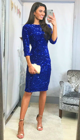 5828 Afira Royal Embellished Flare Dress