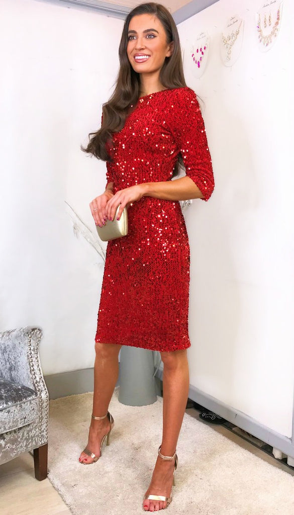 5-5993 - (SIZE 12 ONLY) - Christina Red Sequin Dress