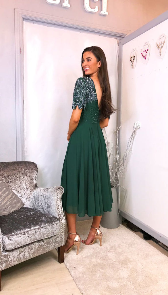 5-6016 - (SIZES 10 ONLY) - Tilly Green Embellished Flare Dress