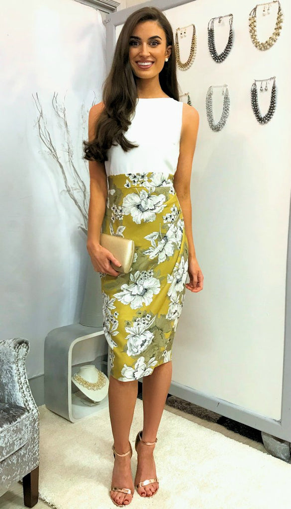 4995 (SIZE 16 ONLY) White & Yellow Floral Pleated Pencil Dress