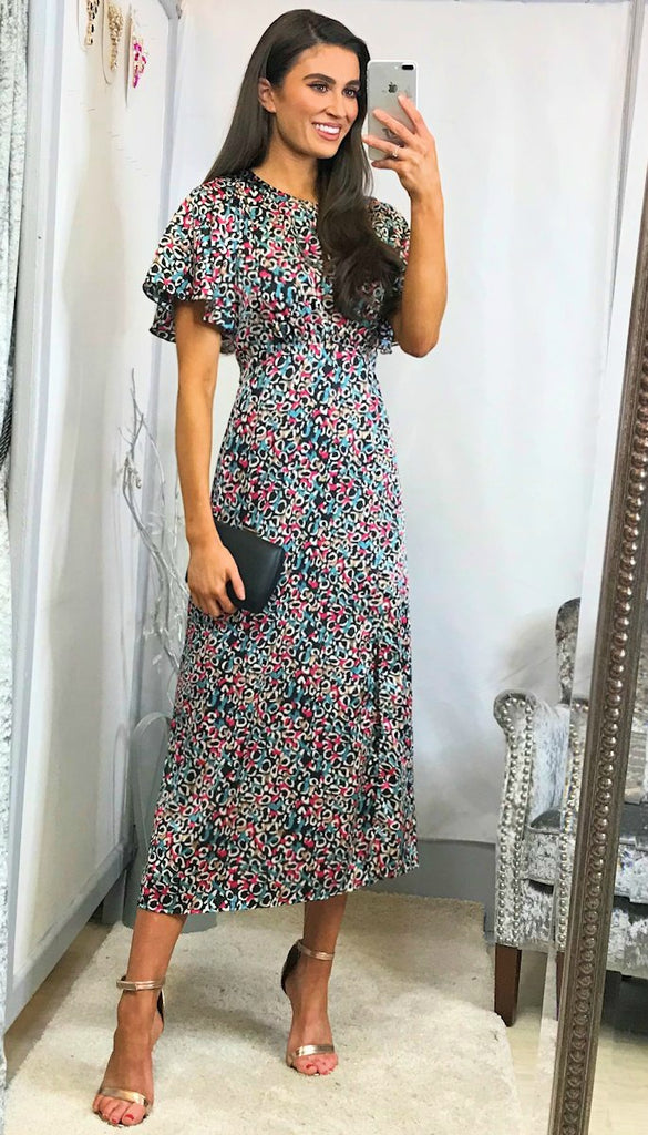 5-6012 - (SIZE 8,12) - Diana Multi Print Midi Dress