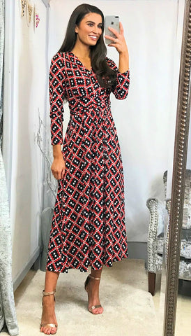 6045 Brooke Multi Print Midi Dress (Print Varies)