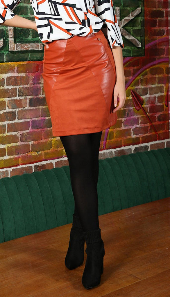 6661 Faux Leather Skirt Rust