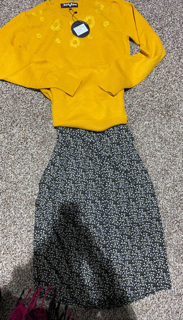 5-6738 - (SIZES 12,16 ONLY) - Mustard Embroidered Knit Jumper