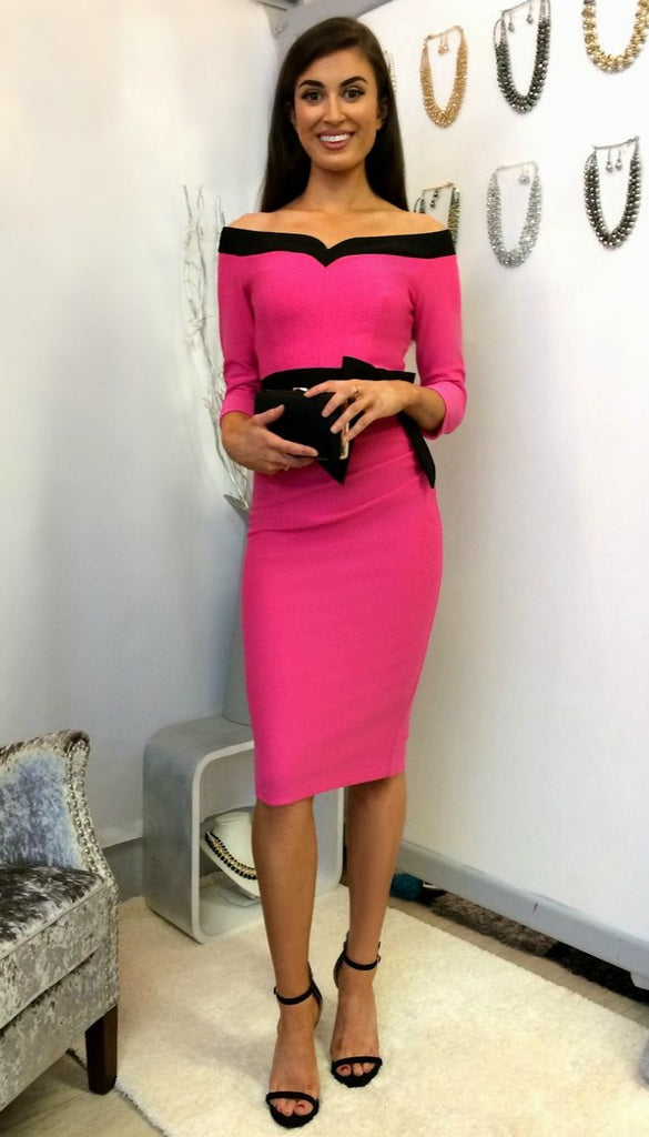 4925 Diva Hibiscus Fuschia Midi Dress ---- (SIZE 14 ONLY)