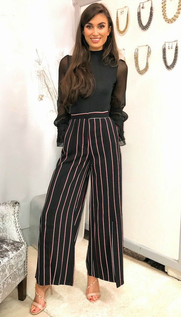 4-5102 Stripe Wide Leg Trousers ---- (SIZE 8 ONLY)