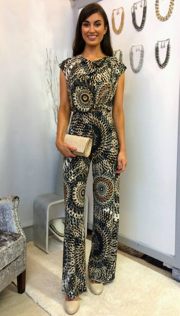 4-4955 Cowl Neck Printed Jumpsuit ---- (SIZES 12,14 ONLY)