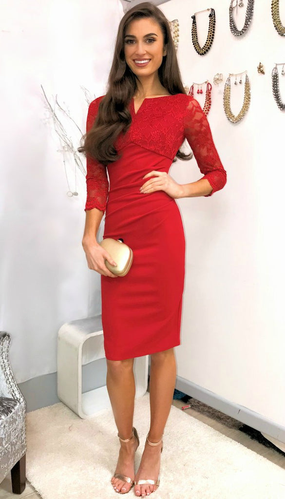 5230 Red Lace Top Midi Dress