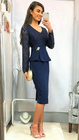 5268 Navy Swallow Print Day Dress --- (SIZES 8,16,18)