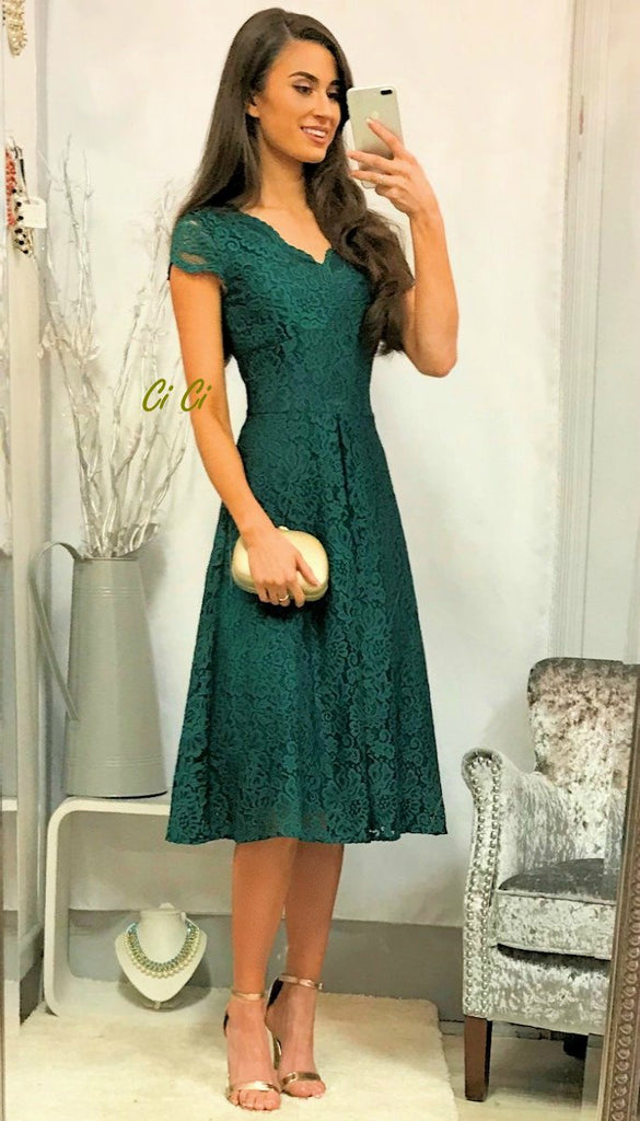 5-5273 Green Lace Midi Flare Dress ---- (SIZES 16 ONLY)