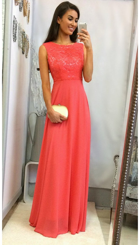 4775 Coral Lace Top Maxi Dress