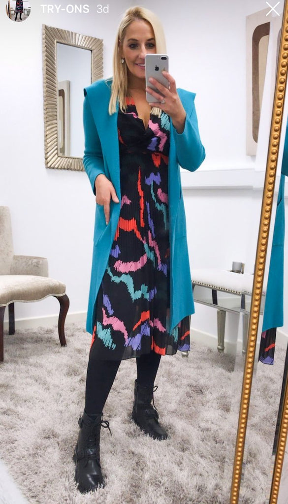 6788 Turquoise Hooded Cardigan