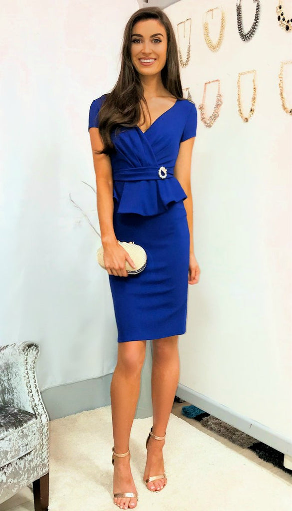 5306 Blue Peplum Fitted Dress