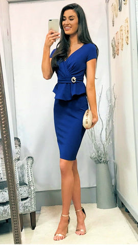 5297 Navy Peplum Fitted Dress