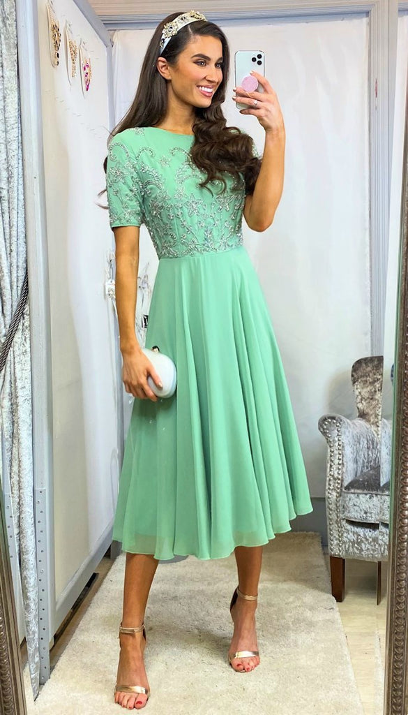 5-6066 - (SIZE 18 ONLY) - Dora Mint Embellished Flare Dress