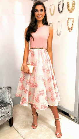 5377 Floral Flare Brocade Dress ---- (SIZES 10,16)