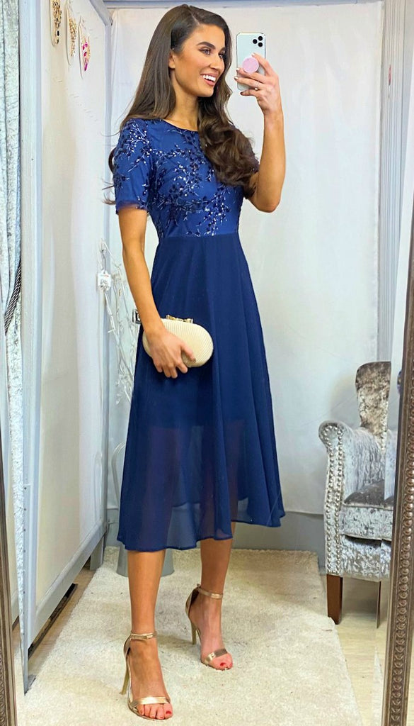 6061 - (SIZES 18,20,22 ONLY) - Edith Navy Embellished Flare Dress