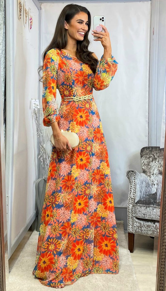 5-6092(B) - (SIZE 18 ONLY) - Gracie Orange Print Maxi Dress