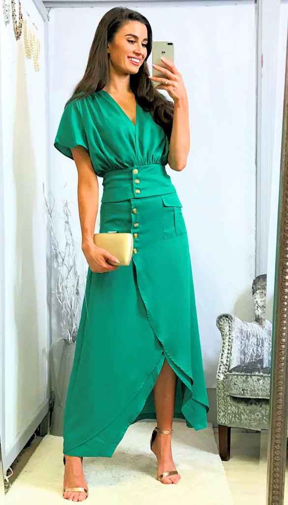4-5432 - (SIZE 8,12 ONLY) - Green Button Skirt & Top Set