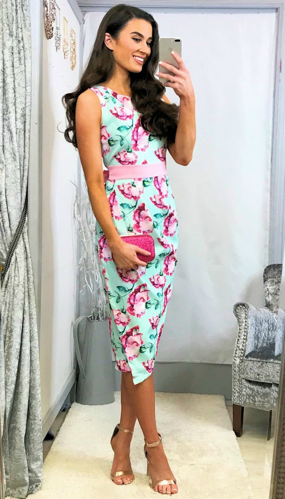 5-5450 -  (SIZES 8,14 ONLY) - Rouched Mint Floral Dress