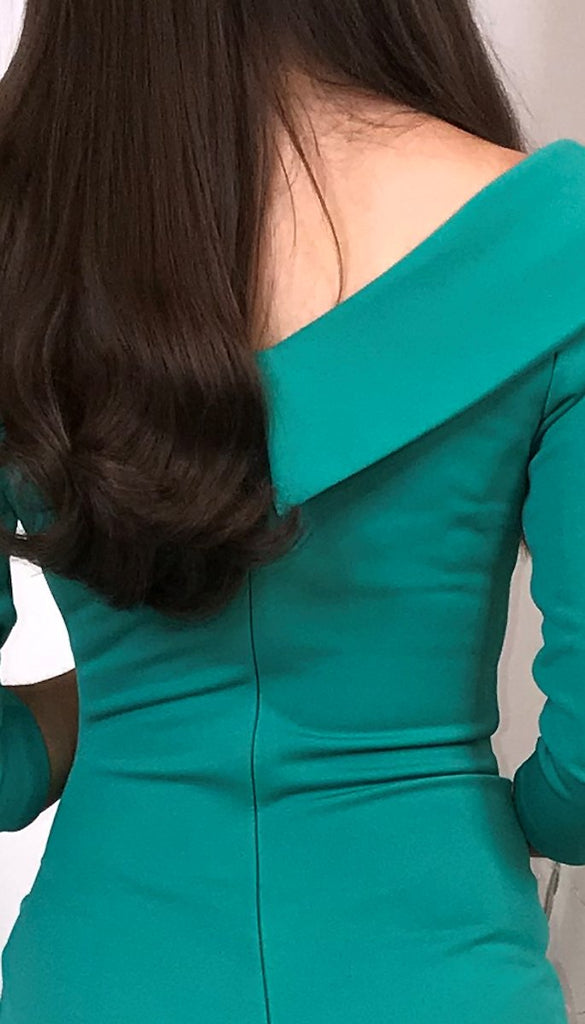 5443 - (SIZES 8,14,16) - Green Eliza Sleeved Dress