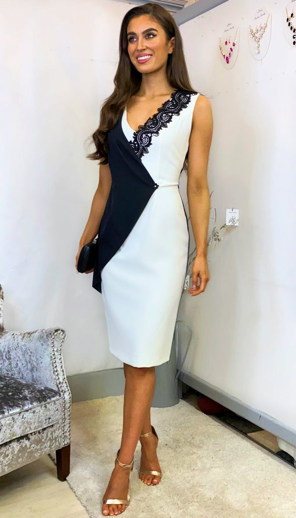 5-6120 - (SIZES 10,12 ONLY) - Anna Black/White Pencil Dress