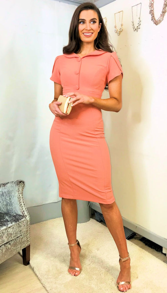 5449 Dusty Coral Peter Pan Dress