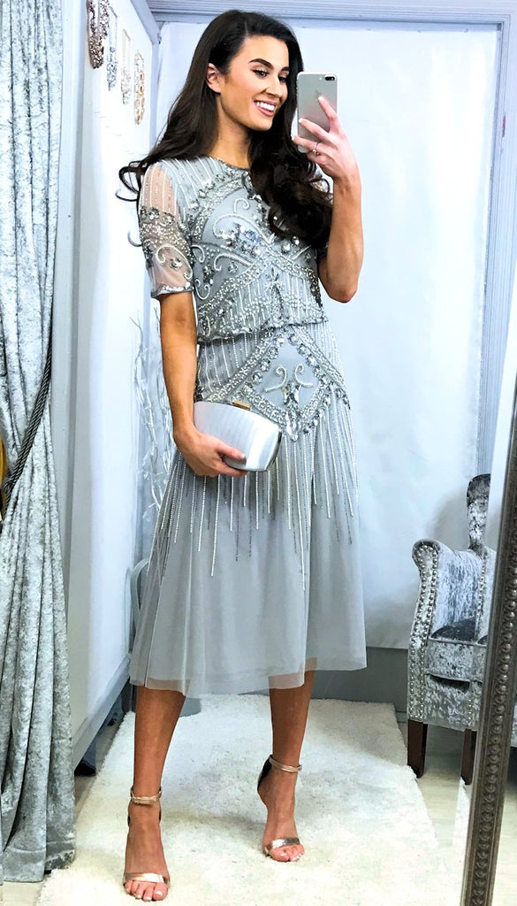5460 Grey Embellished Midi Dress