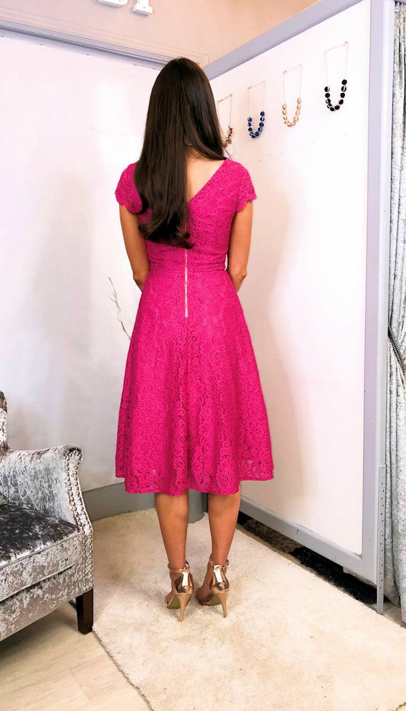 4-5467 - (SIZE 8,16) - Pink STACY Lace Midi Flare Dress