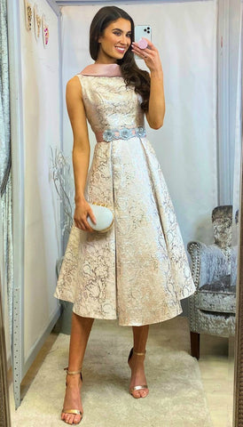 5-6094 - (SIZES 12,16 ONLY) - Selma Lace Bodice Midaxi Dress
