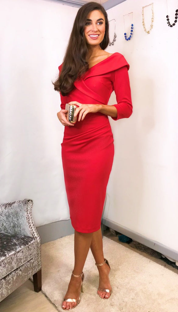 5-5568 - (SIZE 10,16 ONLY) - Red Eliza Sleeved Dress