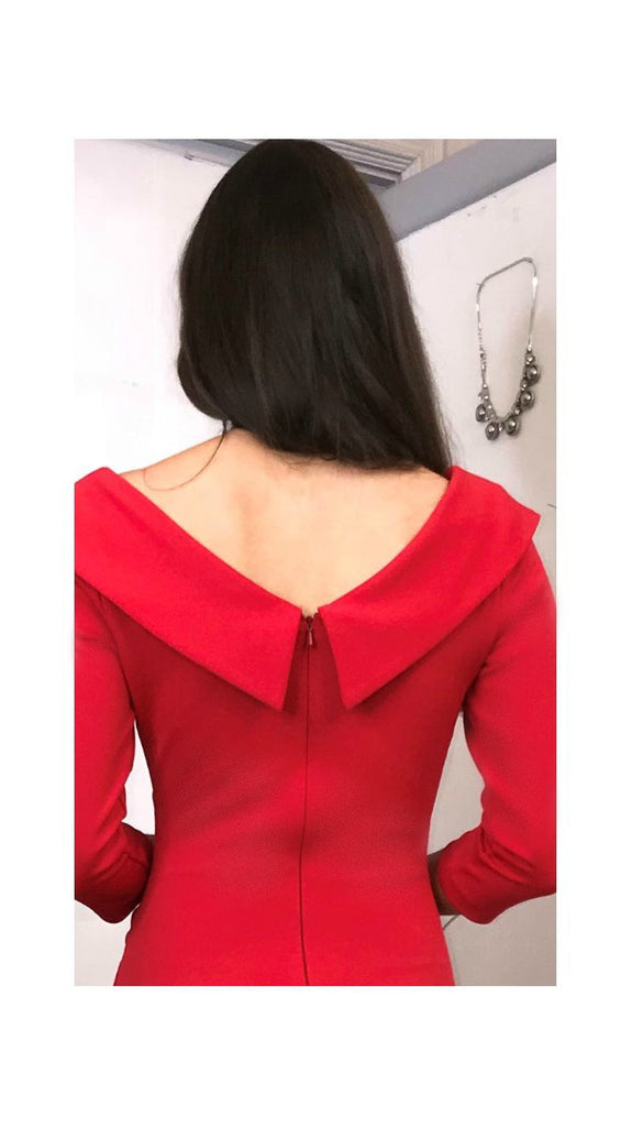 5-5568 - (SIZE 8 ONLY) - Red Eliza Sleeved Dress