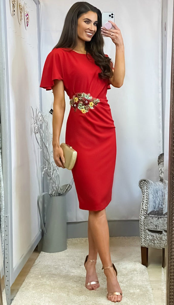 6165 - (SIZES 18,20,22) - Enny Red Applique Rouched Dress