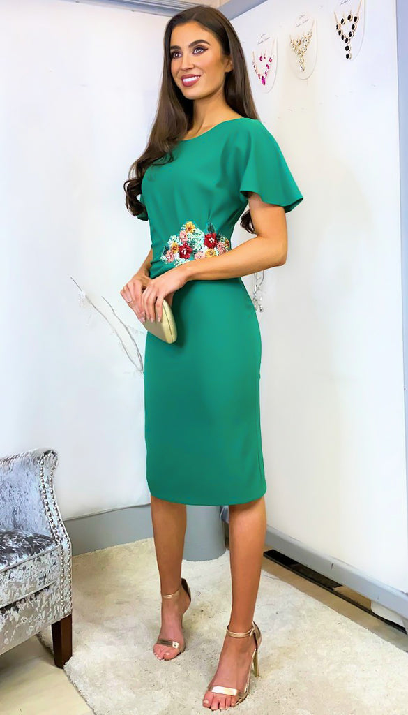 6174 - (SIZES 18,20,22) - Amanda Green Applique Rouched Dress