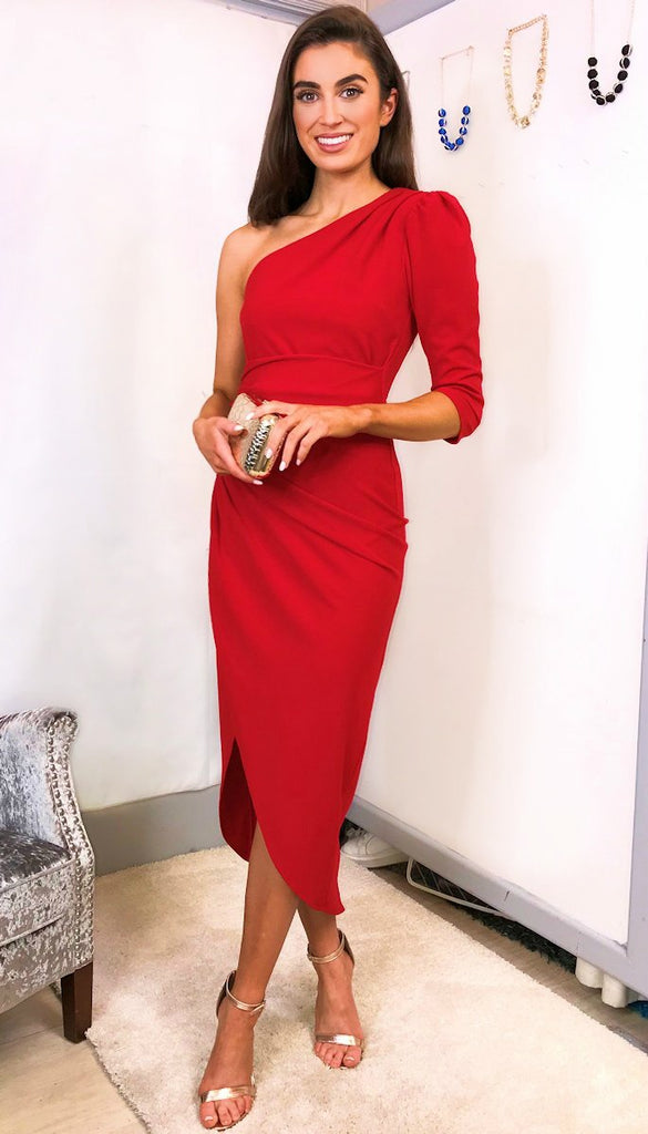 5-5502 - (SIZE 8,16 ONLY) - Red One Shoulder Wrap Skirt Dress