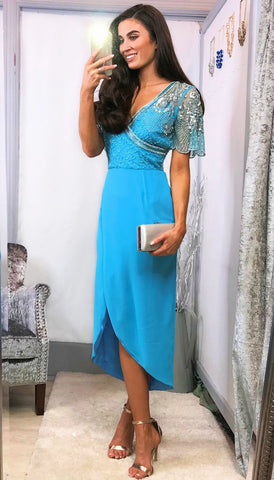 5247 Blue Lace Brocade Flare Dress