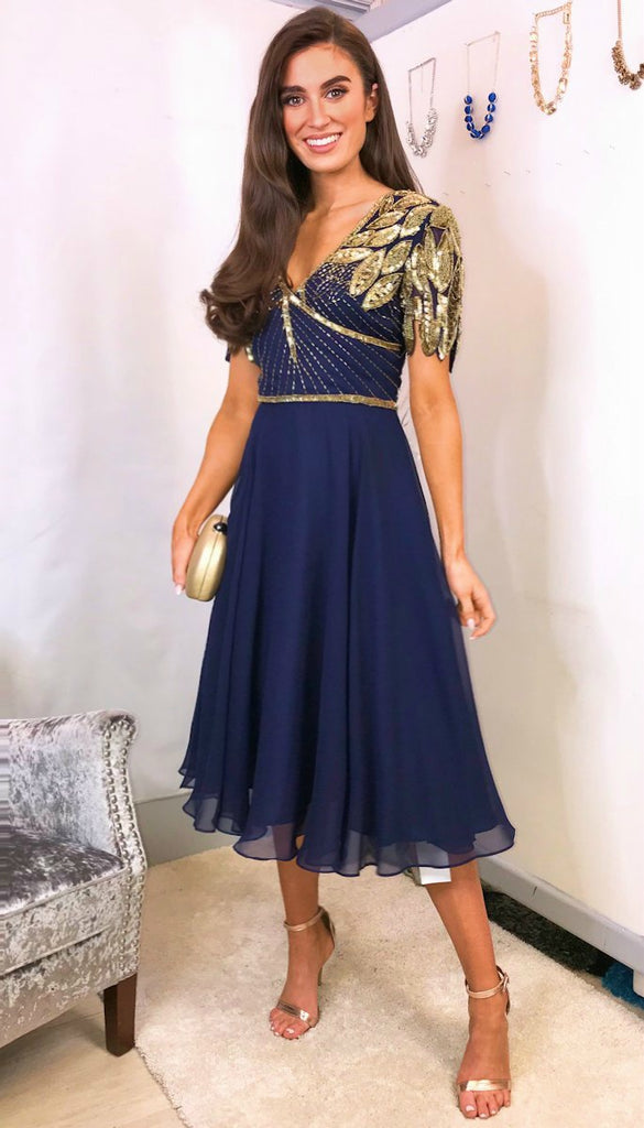 5-5593 - (SIZE 10,12 ONLY) - Navy Ursula Embellished Flare Dress