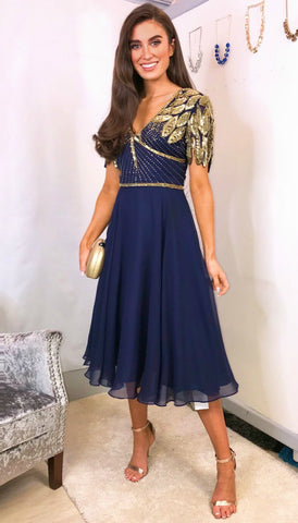 5-5302 Blue Diamante Shoulder Dress (SIZES 14,16 ONLY)