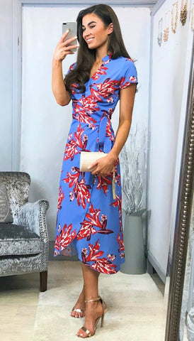 4-5362 Floral Bardot Rouched Midi Dress --- (SIZES 18 ONLY)